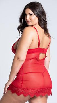 Plus Size Eyelash Lace Chemise - Red