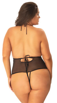 Plus Size Embellished Crotchless Lace Teddy - as shown