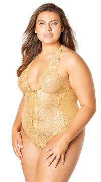 Plus Size Embellished Crotchless Lace Teddy - Gold