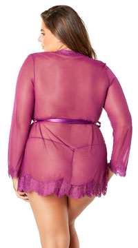 Plus Size Eyelash Lace Robe and G-String - Amaranth