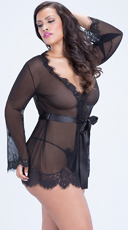 Plus Size Eyelash Lace Robe and G-String - Black
