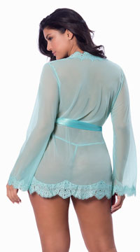 Plus Size Eyelash Lace Robe and G-String - Turquoise