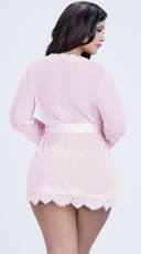 Plus Size Eyelash Lace Robe and G-String - Pink