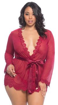 Plus Size Eyelash Lace Robe and G-String - Rhubarb