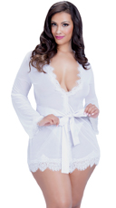 Plus Size Eyelash Lace Robe and G-String - White