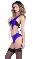 Black and Blue Gartered Bra with Thong Panty - Black/Blue