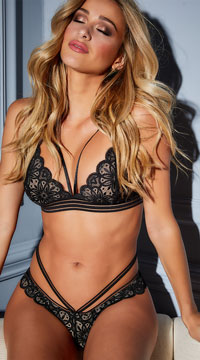 Charisse Geo Bralette Set - Black/Nude