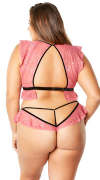 Plus Size Ruby Flutter Away Bralette Set - Pink/Black