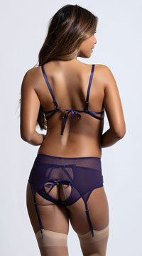 Racy Mesh and Lace Tied Bra Set - as shown