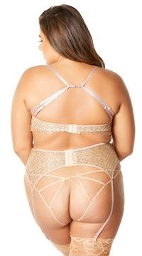 Plus Size Mystique Metal Net Bra Set - Nude