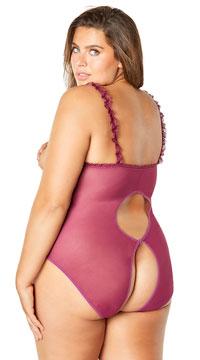 Plus Size Open Cup Lace Teddy - Amaranth