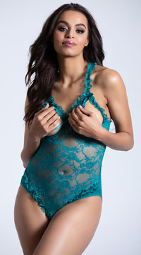 Open Cup Lace Teddy - Everglade