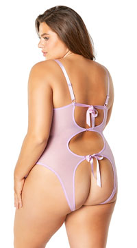 Plus Size Open Cup Mesh and Lace Tie Teddy - Lilac