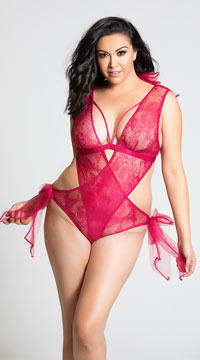 Plus Size Tulle Bows Lace Teddy - Granita