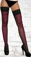Pink Lace Up Look Thigh Highs - Black