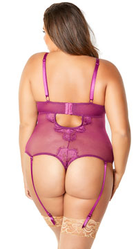 Plus Size Eyelash Lace Teddy with Garters - Amaranth