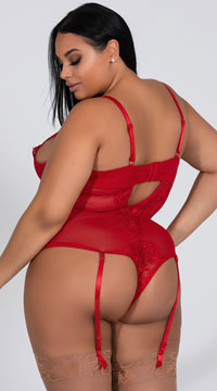 Plus Size Eyelash Lace Teddy with Garters - Red