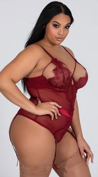 Plus Size Eyelash Lace Teddy with Garters - Rhubarb