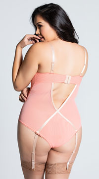 Plus Size Radiant Gartered Teddy - as shown