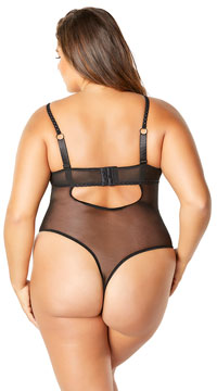 Plus Size Chantelle Lace and Chain Teddy - Black