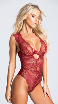 Adelle Dramatic Lace Teddy - Merlot