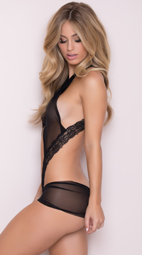 Criss-Cross Mesh Teddy - Black