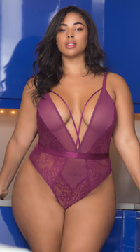 Plus Size Viviane Plunging Mesh and Lace Teddy - Amaranth