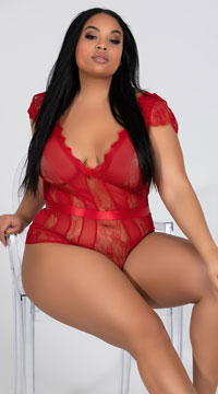 Plus Size Striped Eyelash Lace Teddy - Red