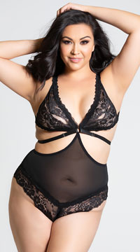 Plus Size Naughty Lace Teddy - Black
