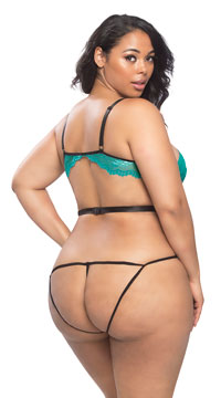 Plus Size Tempting Strappy Teddy - Green/Black
