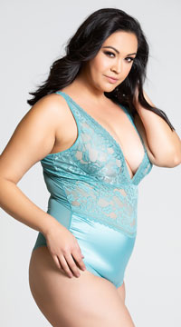 Plus Size Yvette Satin and Lace Teddy - Turquoise