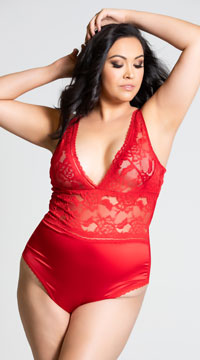 Plus Size Yvette Satin and Lace Teddy - Red