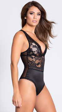 Yvette Satin and Lace Teddy - Black