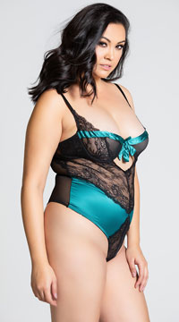 Plus Size All Wrapped Up Teddy - Green/Black