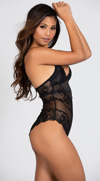 Lacy Romance Bodysuit - Black