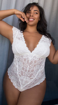 Plus Size Suzette Lace Teddy - Whispering White