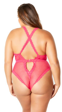 Plus Size Ava Lacy Teddy - Rose