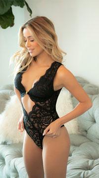 Stephanie Lace Teddy - Black