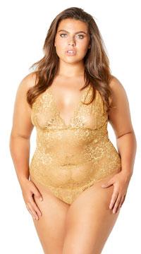 Plus Size Joella Lace Teddy - Gold