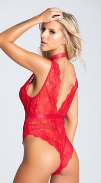 Elicia Choke Me Teddy - Red