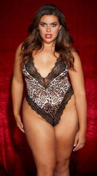 Plus Size Cher Leopard Lace Teddy - Leopard