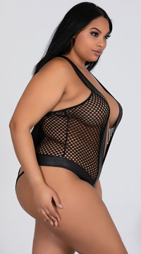 Plus Size Damia Fishnet Teddy - Black