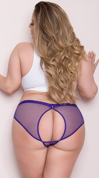 Plus Size Netted Open Back Hipster Panty - Purple