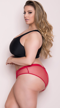 Plus Size Netted Open Back Hipster Panty - Red