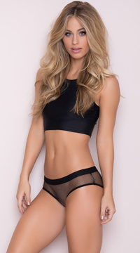 Netted Open Back Hipster Panty - Black