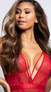 Viviane Plunging Mesh and Lace Chemise Set - Red