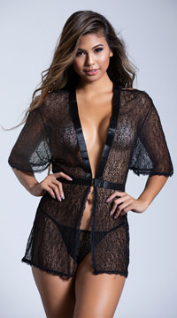 Black Netted Robe Set - Black