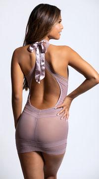 High Neck Striped Chemise Set - Mauve