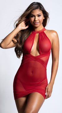 High Neck Striped Chemise Set - Red