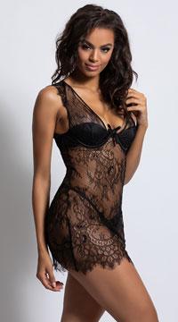 Colette Lace Chemise Set - Black